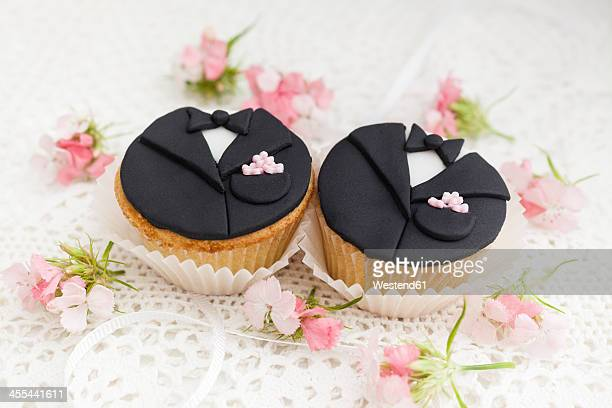 Groom cupcakes for wedding, close up
