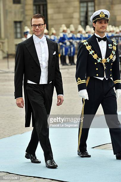 Groom Daniel Westling and best man and brother of the bride Carl Philip of Sweden attend the Wedding of Crown Princess Victoria of Sweden and Daniel...