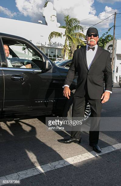 Groom David Grutman and Hulk Hogan arrive to David Grutman's and model Isabela Rangel wedding in Wynwood Wall on April 23 2016 in Miami Florida