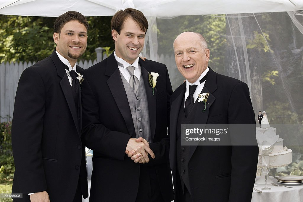 Groom , father , and best man : Stock Photo