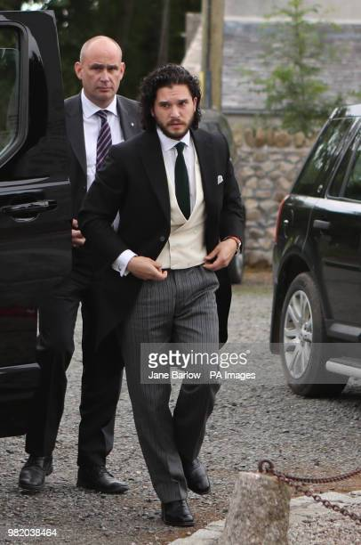 Groom Game of Thrones star Kit Harington who plays Jon Snow arriving at Rayne Church in the village of Kirkton of Rayne Aberdeenshire for his wedding...