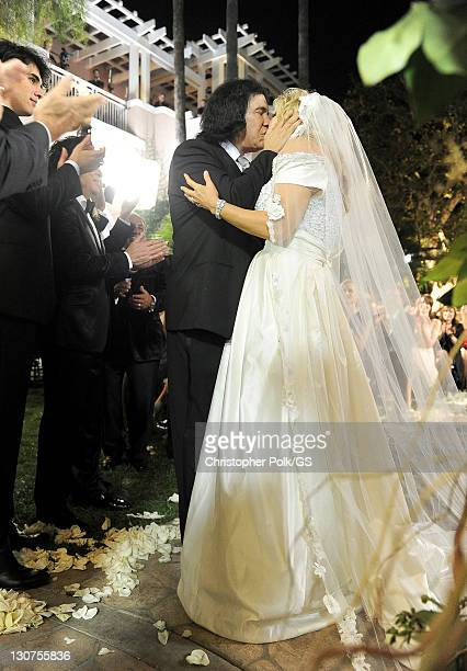 Groom Gene Simmons and Bride Shannon Tweed attend their wedding held at the Beverly Hills Hotel on October 1 2011 in Los Angeles California