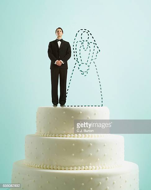 Groom on top of wedding cake