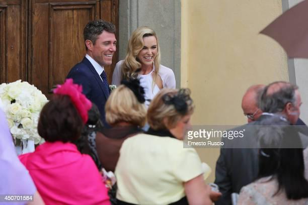 Groom Pat Jennings Jr and bride Sarah Morrisey are seen after their wedding at Santa Maria in Selva on June 15 2014 in Montecatini Terme Italy