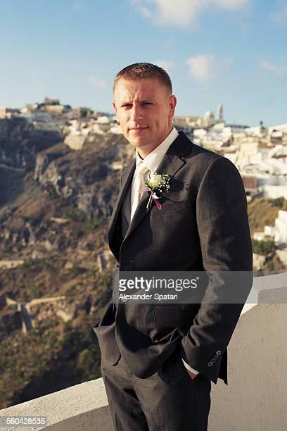 Groom portrait in Santorini, Greece