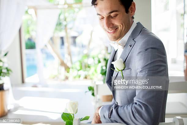 Groom waiting fro bride before wedding