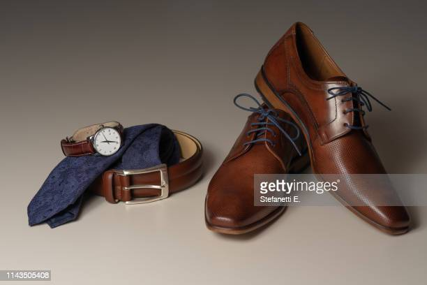 groom wedding set - brown shoe stock photos and pictures