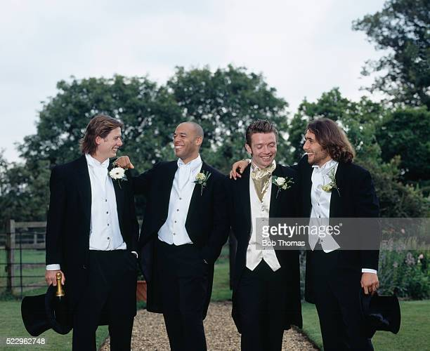 Groom with Best Man and Wedding Party