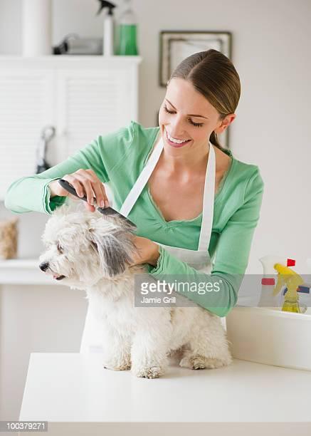 Groomer brushing dog, smiling