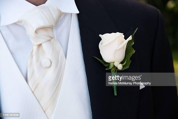 Grooms buttonhole suit detail