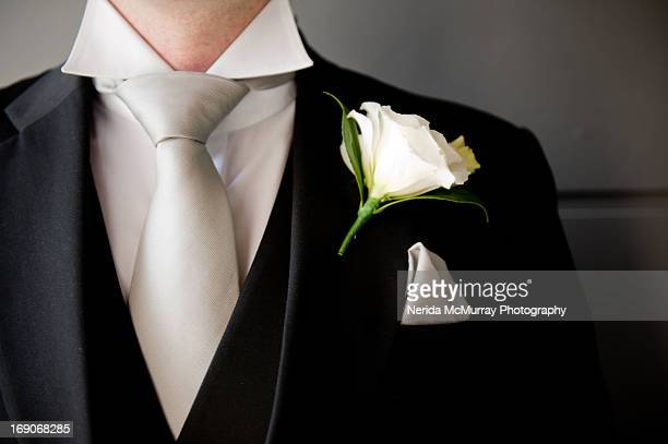 groom's suit and buttonhole - dinner jacket stock pictures, royalty-free photos & images