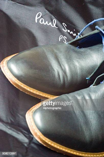 groom's suit and shoes - paul smith designer label stock photos and pictures