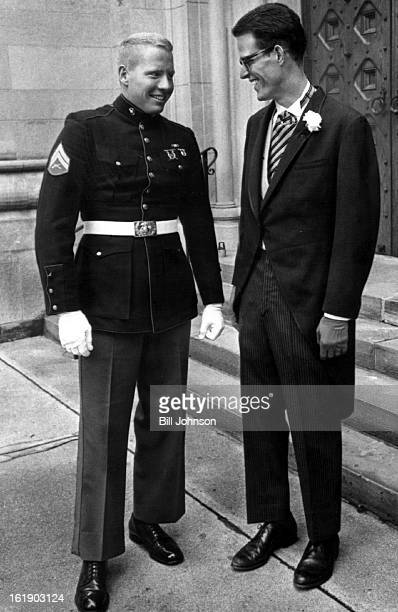 AUG 20 1966 AUG 22 1966 Groomsmen At Afternoon Rites Adolph Coors IV of Bridgeport Calif and his cousin Joseph Coors Jr chat about the nuptials on...