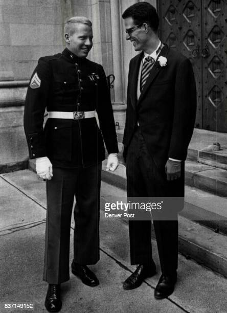 Groomsmen at Afternoon Rites Adolph Coors IV of Bridgeport Calif and his cousin Joseph Coors Jr chat about the nuptials on the steps of the cathedral...