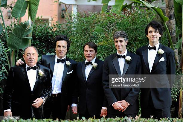 Groomsmen Doc McGhee Paul Stanley Rich Abramson Kobi Weitz and Nick Simmons attend the wedding of Gene Simmons and Shannon Tweed at the Beverly Hills...