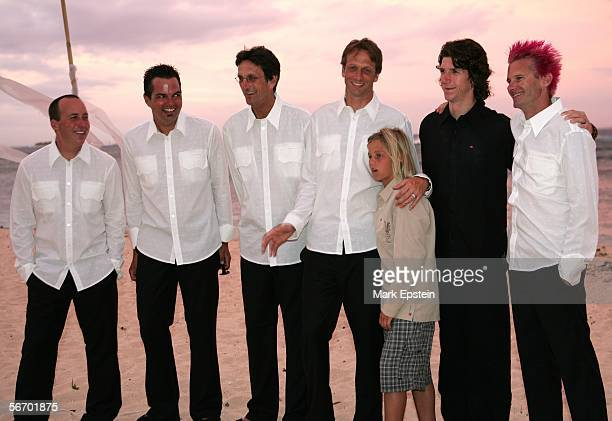 Groomsmen Shawn Mortermer Greg Smith Steve Hawk Tony Hawk and his son Riley and Kevin Staab pose for a photo after Tony Hawk and Lhotse Merriam's...