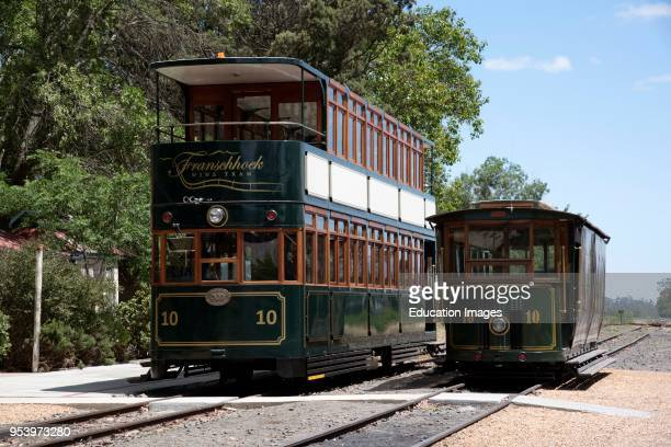 Groot Drakenstein Western Cape South Africa Two sightseeing wine trams at the old railway station