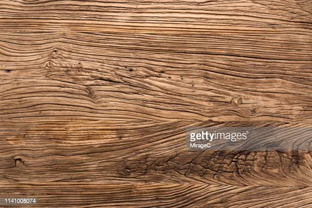 grooved old wood table surface - wood material stock pictures, royalty-free photos & images