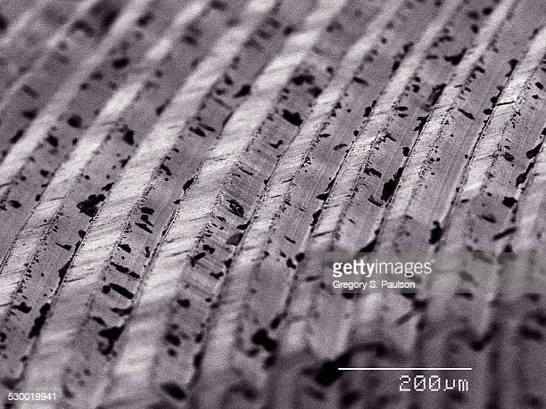 grooves of vinyl record album sem - scanning electron microscope stock pictures, royalty-free photos & images