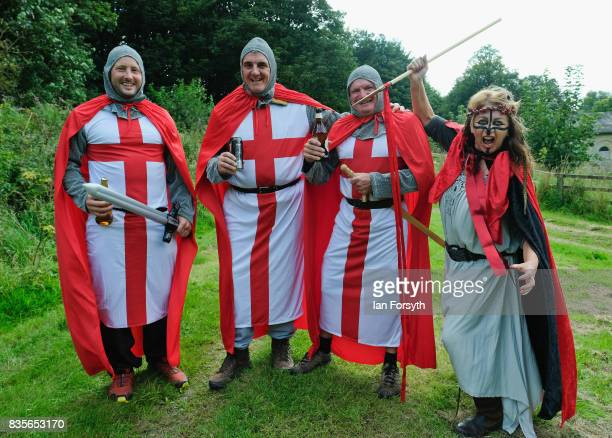 A grop of freinds from Middlesbrough dress as knights as they attend the annual Castle Howard Proms Spectacular concert held on the grounds of the...