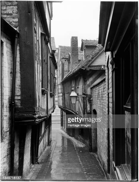 Grope Lane, Shrewsbury, Shropshire, 1922. A view looking west along Grope Lane. Artist London Midland and Scottish Railway.