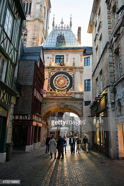 gros horloge clock tower in rouen, france - rouen stock pictures, royalty-free photos & images
