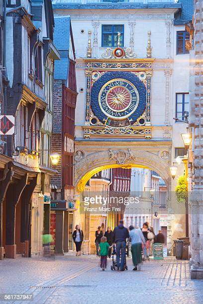 gros horloge - rouen stock pictures, royalty-free photos & images