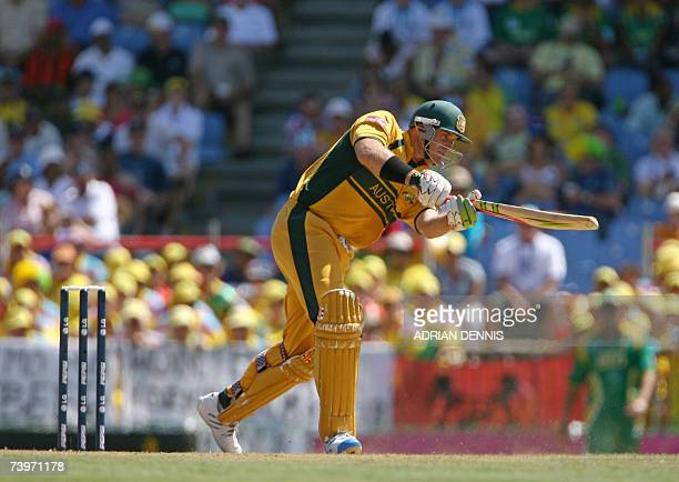 Australian cricketer Mathew Hayden bats against South Africa during the ICC Cricket World Cup semifinal match at Beausejour cricket ground in Gros...
