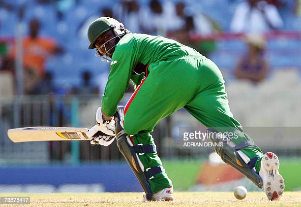 Kenya's Captain Steve Tikolo plays a shot against Canada during their Group C Cricket World Cup Match at Beausejour cricket ground in Gros Islet St...