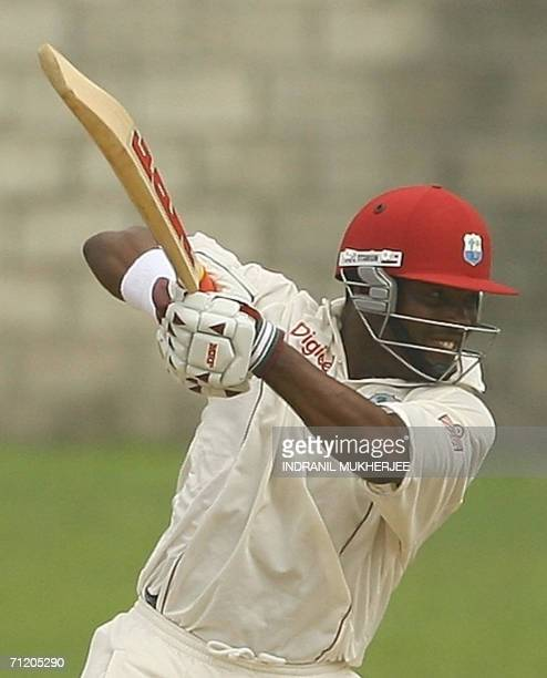 Gros Islet, SAINT LUCIA: West Indian captain Brian Lara plays a shot on way to his century on the fifth and final day of the second test between...