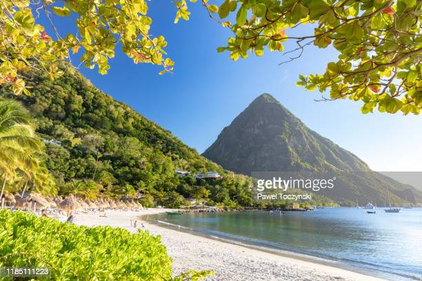 gros piton - the famous volcanic peak in st lucia, 2019 - caribbean stock pictures, royalty-free photos & images