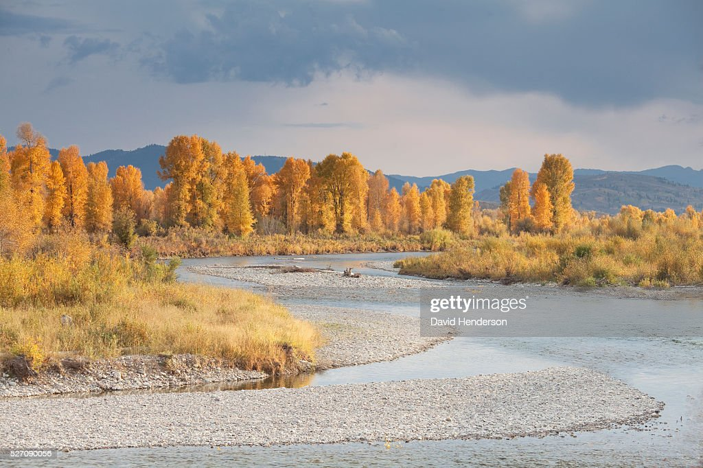 Gros Ventre in Grand Teton National Park in autumn, Wyoming, USA : Stock Photo