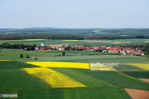 Grossbardorf, view from Judenberg, Rhoen-Grabfeld, Lower Franconia, Bavaria, Germany