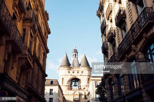 Grosse Cloche belfry archway and narrow street in Bordeaux