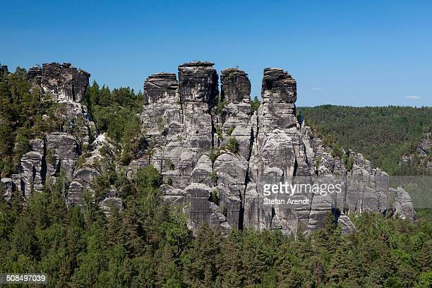 Grosse Gans rock formations, Elbe Sandstone Mountains, near Bastei, Saxony, Germany, Europe