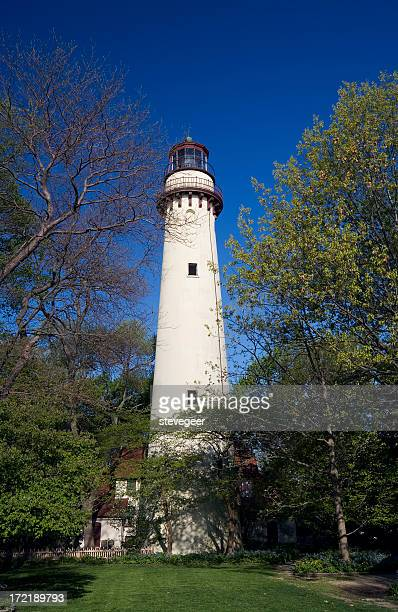 grosse point lighthouse - evanston illinois stock photos and pictures