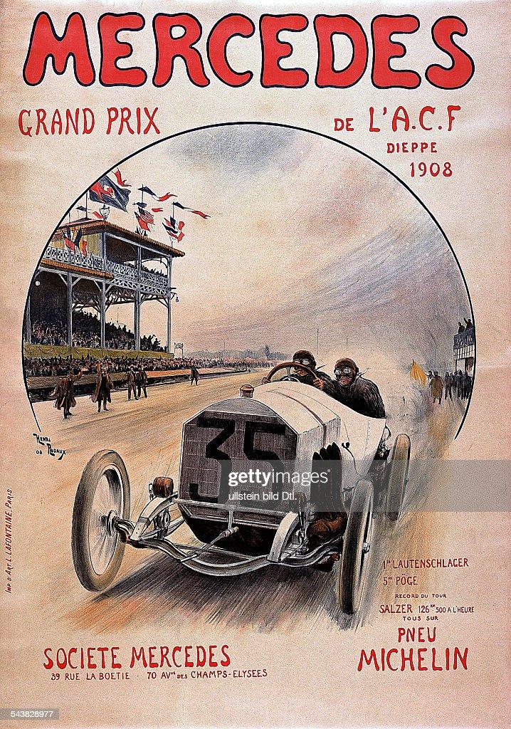 Grosser Preis Von Frankreich In Dieppe Am Werbeplakat Von Mercedes
