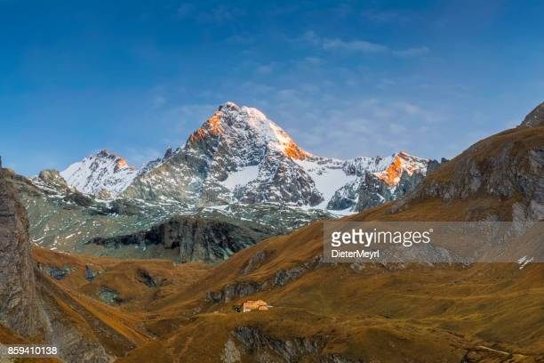 grossglockner alpenglow at autumn in kals, austria - carinthia stock pictures, royalty-free photos & images