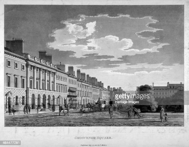 Grosvenor Square Westminster London 1800 Street scene including horsedrawn carriages and figures