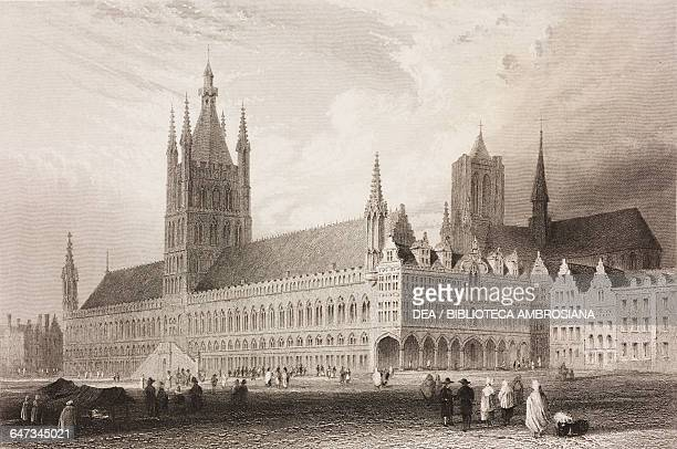 Grote Markt and the Cloth Hall Ypres Belgium engraving from a drawing by William Henry Bartlett from Vues de la Hollande et de la Belgique by...