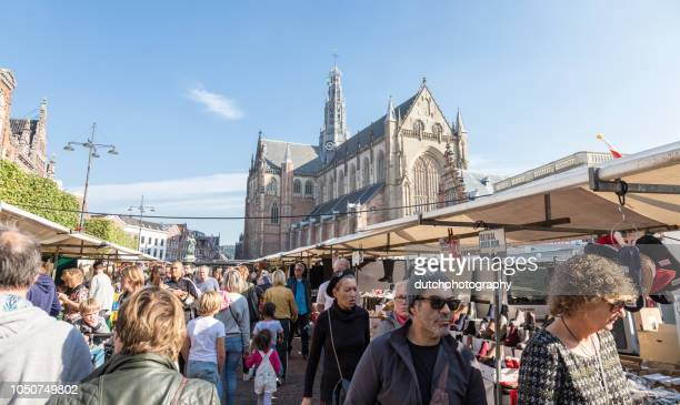 grote markt in haarlem - haarlem stock photos and pictures