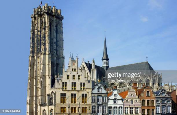 grote markt main square and st rumbold's cathedral in mechelen, belgium - mechelen stock pictures, royalty-free photos & images
