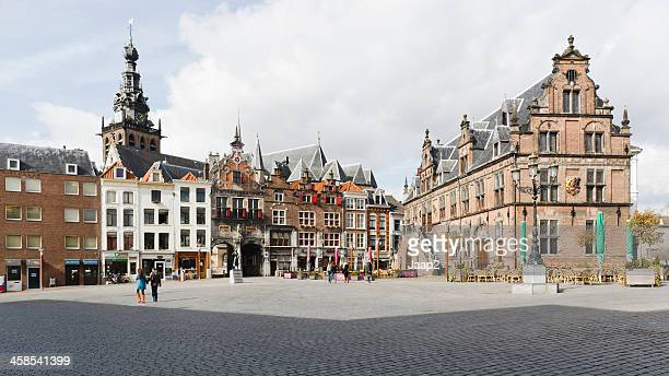 """""""grote markt"""" square downtown nijmegen, the netherlands, panorama - nijmegen stock pictures, royalty-free photos & images"""