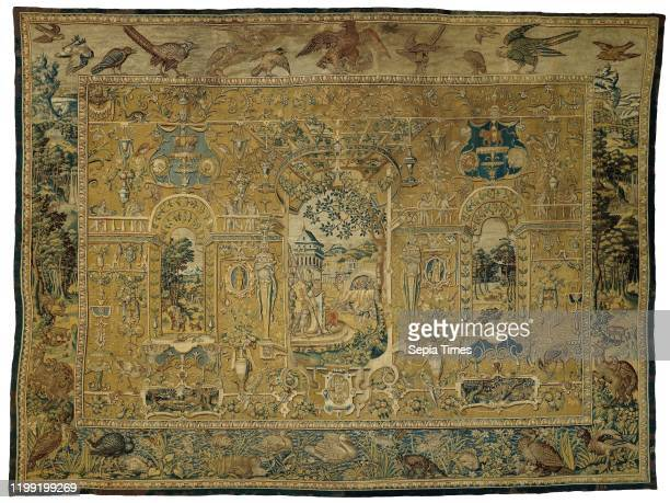 Grotesque carpet with Nebuchadnezzar and the three young men in the fire Grotesque carpet with Nebuchadnezzar against a yellow ground and with an...