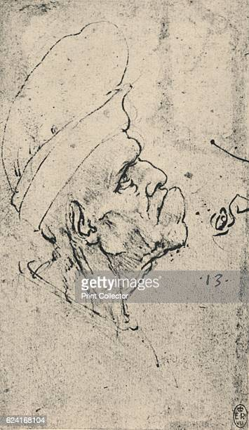 Grotesque Profile of a Man Wearing a Hat to the Right', c1480 . From The Drawings of Leonardo da Vinci. [Reynal & Hitchcock, New York, 1945]. Artist...