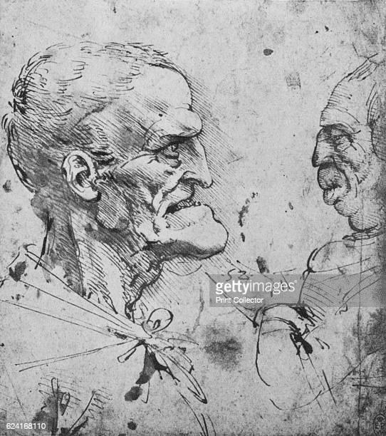Grotesque Profiles of a Man and Woman Facing' c1480 From The Drawings of Leonardo da Vinci [Reynal Hitchcock New York 1945] Artist Leonardo da Vinci