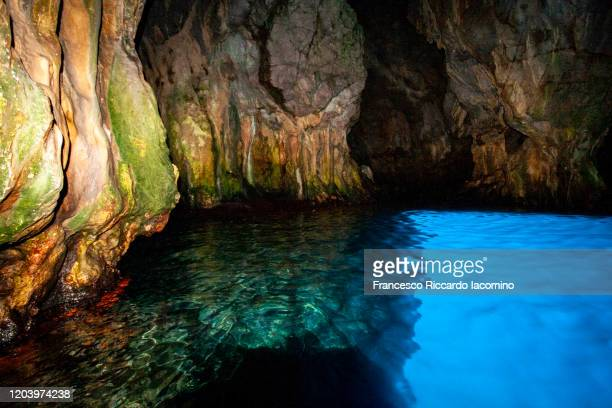 grotta azzurra (blue grotto), famous natural blue cave in capri, naples, italy - capri stock pictures, royalty-free photos & images