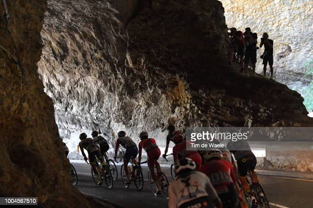 Grotte Du MasD'azil / Egan Arley Bernal of Colombia and Team Sky / Thomas De Gendt of Belgium and Team Lotto Soudal / Peloton / Landscape / Tunnel /...