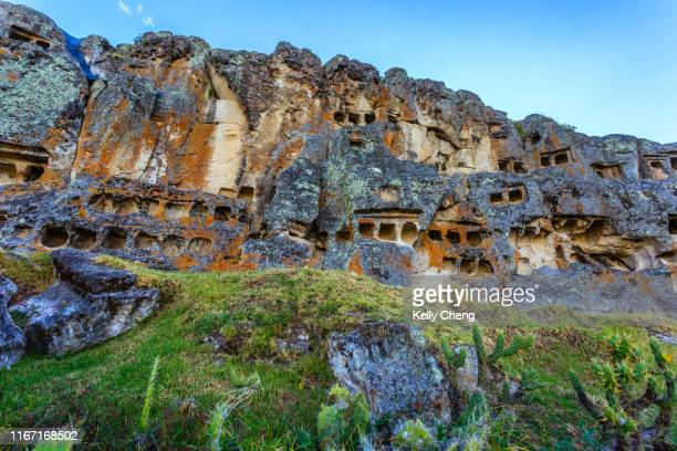 grottos at cumbemayo or cumbe mayo - archaeology stock pictures, royalty-free photos & images