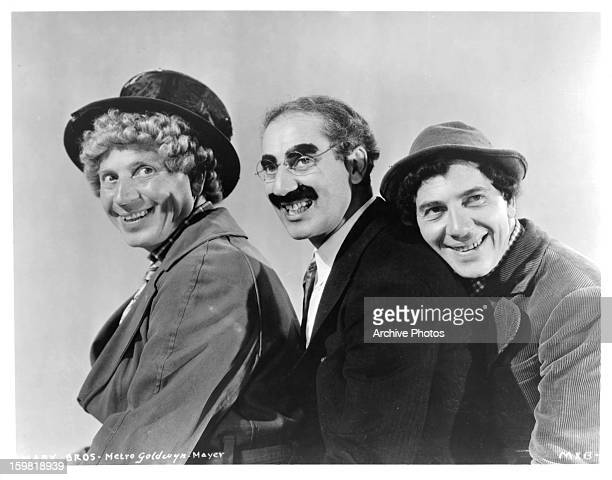 Groucho Marx Chico Marx and Harpo Marx on set from the film 'A Night At The Opera' 1935